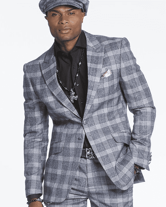 blue plaid suit for men, BLUE CHECKERED, PLAID, GRAY AND WHITE SQUARES, GRAY SUIT,