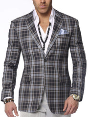 Men's plaid sport coat blazer Emilio Blue - ANGELINO