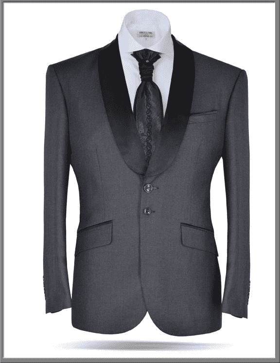 Tuxedo Blazer, Gray with black shawl lapel - ANGELINO