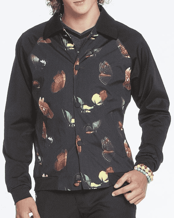 Fashion bomber Jacket Butterfly print in black background