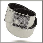 White Leather Belt for men, reversible black and white leather belt,