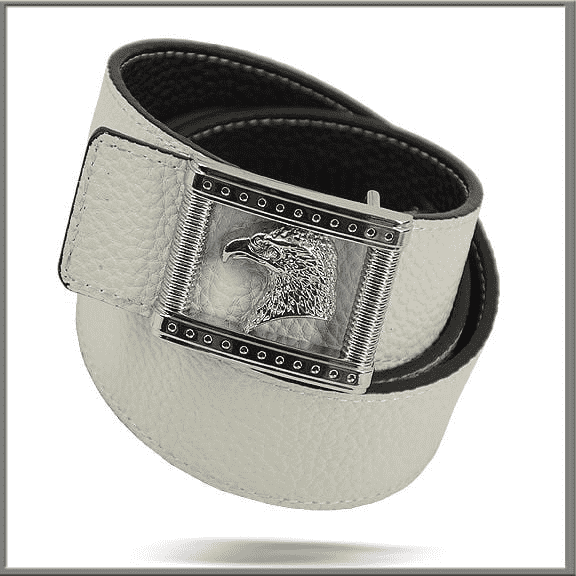 Men's Fashion White Leather Dress Belt  #200 White - ANGELINO