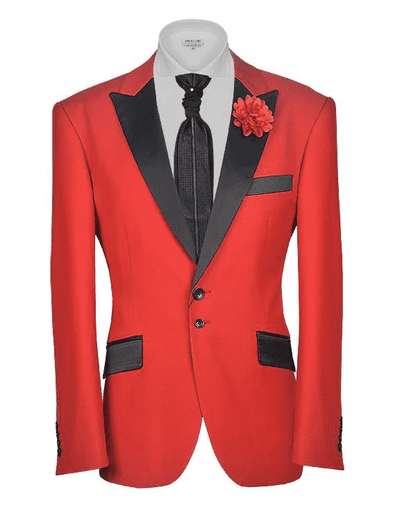 Red Tuxedo Jacket with black satin lapel and pocket flaps. | ANGELINO
