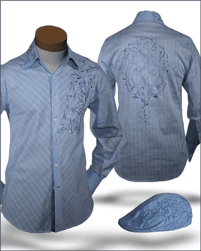 Men's Fashion Angelino Shirts Giorgio Blue - ANGELINO