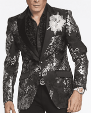 silver and black blazer for men Stylish