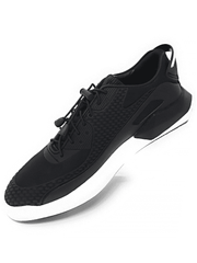 MENS BLACK RUNNERS TRAINERS, fashion footwear. Slip on design, mesh upper which provides ventilation and flexibility, smooth fabric with weaved rubber lining, rubber soles, cushion for comfort.  Black Runners