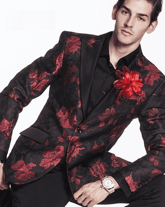 fashion blazer in red and black with flower designs