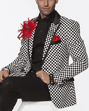 Men blazer black, white check Festival