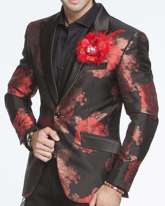 Men's Fashion Lapel Flower Flower3 Red - ANGELINO