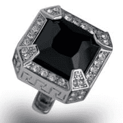 Angelino Cufflink  85 S - Black, Square, stone finish, diamond style,
