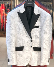 Prom Blazer - Floral White & Silver - prom - Jacket - ANGELINO