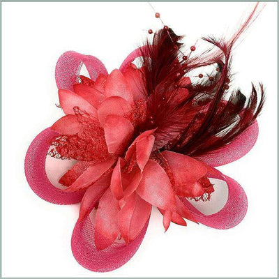 burgundy lapel flower with feather for men and women