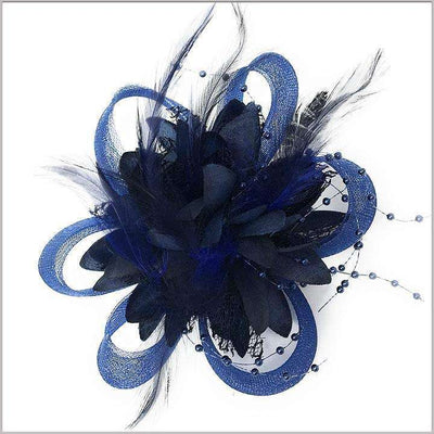 Navy lapel flower with feather for men and women