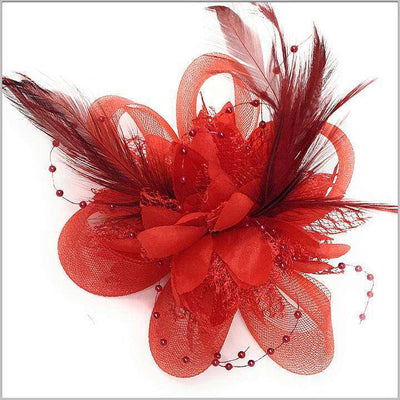 red lapel flower with red feather