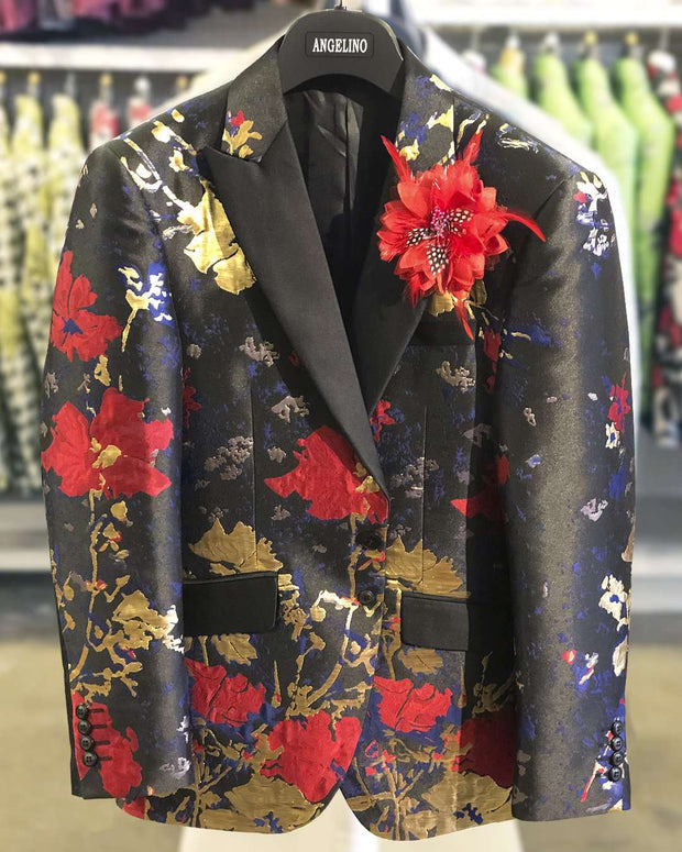 Prom Jacket Flower Red Gold-38R- - ANGELINO