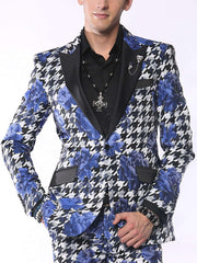 Fashion Blazer for Men Hounds Flower Blue - ANGELINO