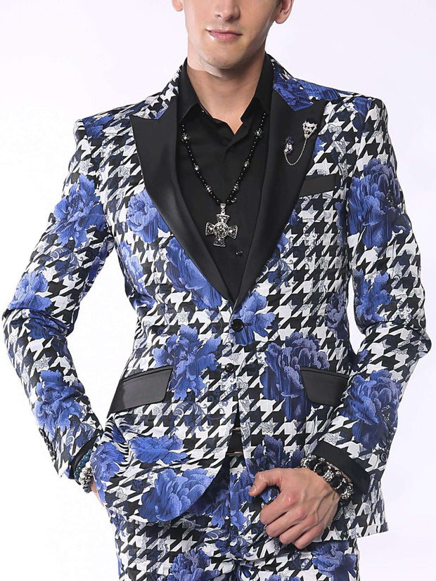 Fashion Blazer for Men, Hounds Flower Blue - Prom - 2020 - Fashion - ANGELINO