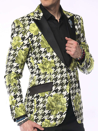 Blazer for Men Hounds Flower Lime Green - Mens - Prom - Tuxedo