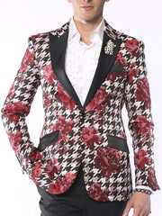 Fashion Blazer for Men, Hounds Flower Red - ANGELINO
