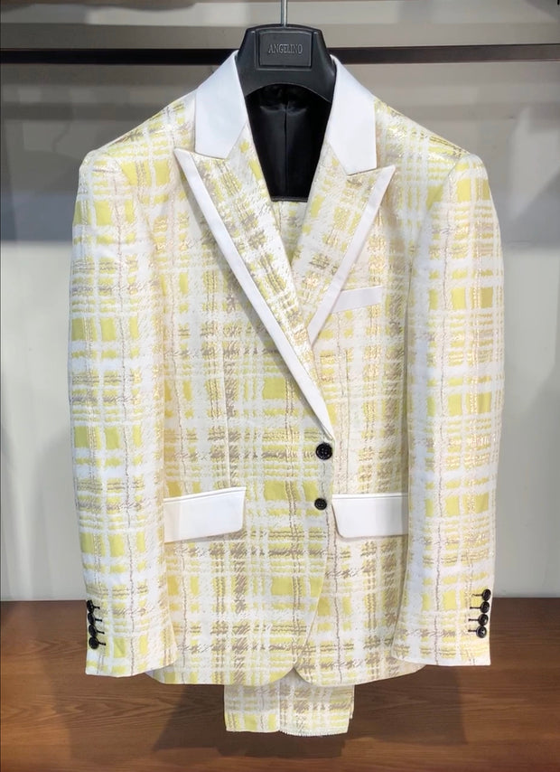 mens fashion suits, mens yellow suits, mens plaid suit