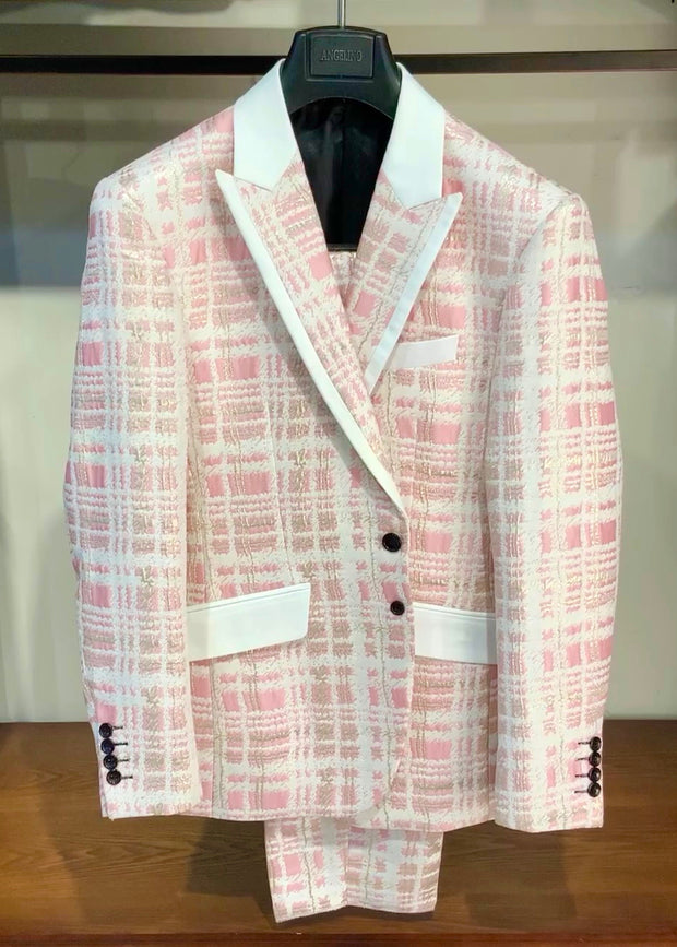 Mens Fashion Suit, Maro Pink - ANGELINO