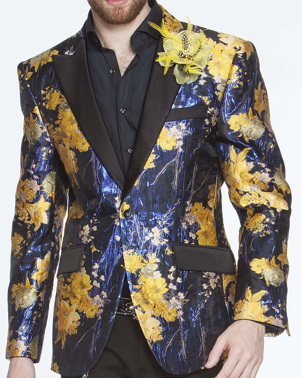 Tuxedo jacket, with yellow and blue floral motifs and black lapel