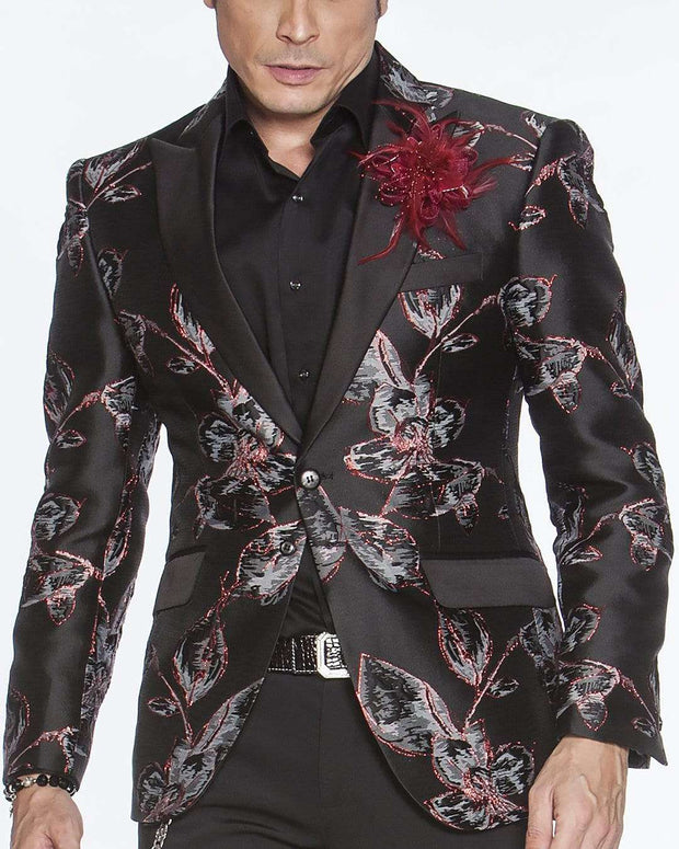 Men's Fashion Lapel Flower- Flower6 Wine - ANGELINO