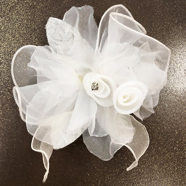 Prom Lapel Lapel Flower 2 White - ANGELINO