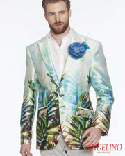 Men's Fashion Lapel Flower Flower3 Teal - ANGELINO