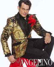 Sequin Jacket Gold/Black - Prom - Tuxedo - Wedding - ANGELINO