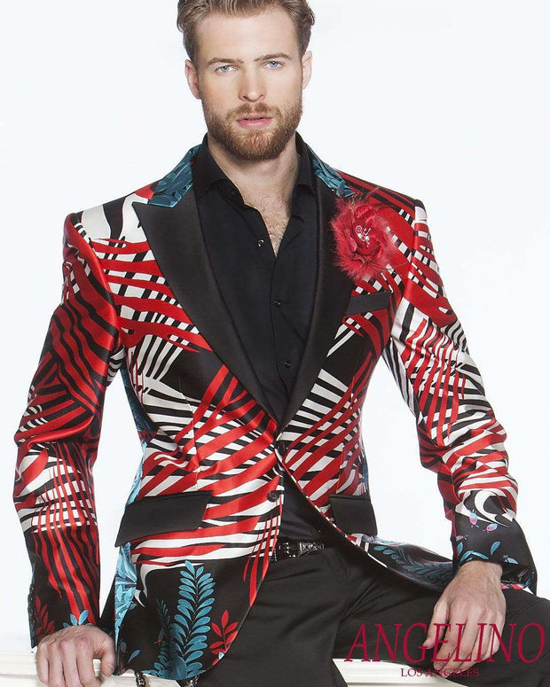 Mens Fashion Blazer/Jacket Silk Palm Spring - 2 - ANGELINO
