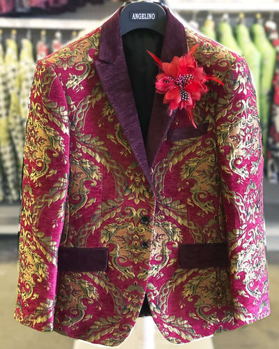 Red Prom Blazer Napoleon Red -38R- Tuxedo - Prom - Jacket - ANGELINO