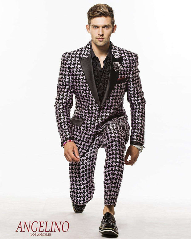 Men's fashion Suit Hounds Purple - ANGELINO
