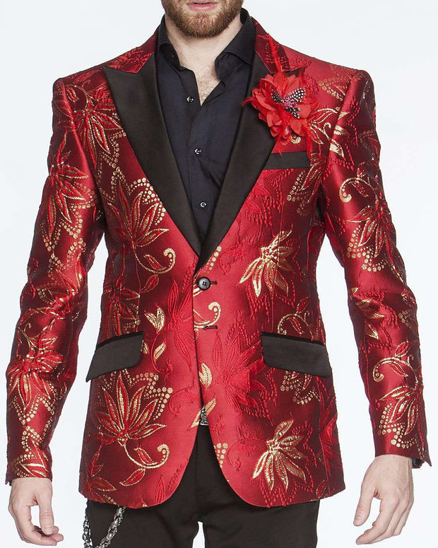Men's Fashion Lapel Flower- Flower1 Red - ANGELINO