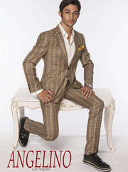 Men's Fashion Suits, Mustard plaid design- 2 - ANGELINO
