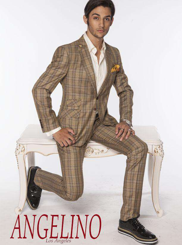 Men's Fashion Suits Plaid3 Mustard - ANGELINO