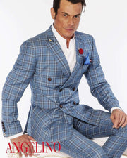 Mens Fashion Suits Double Breasted Plaid2 Blue - ANGELINO