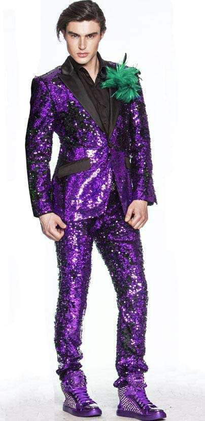 Sequin suit in purple for men - 2 - Angelino