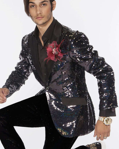 sequin blazer in black with black lapel, black sequin tuxedo Blazer