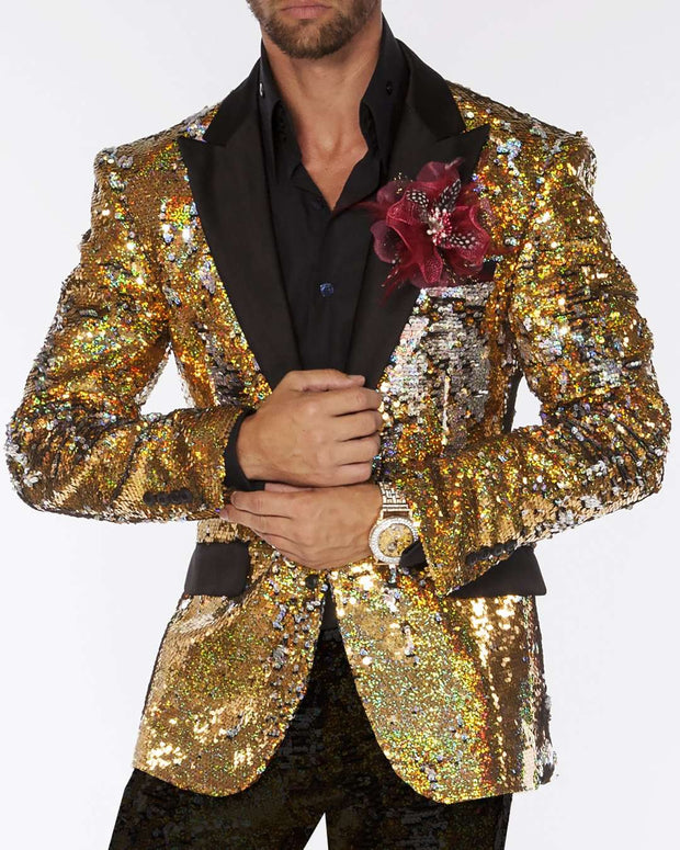 Sequin Blazer: Gold/Silver. - Wedding - Tuxedo - Prom