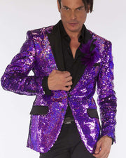 sequin blazers pink with black satin lapel.