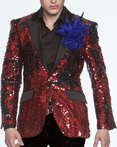 Sequin blazer/Jacket, R. Sequin Red - Prom- Wedding - Mens