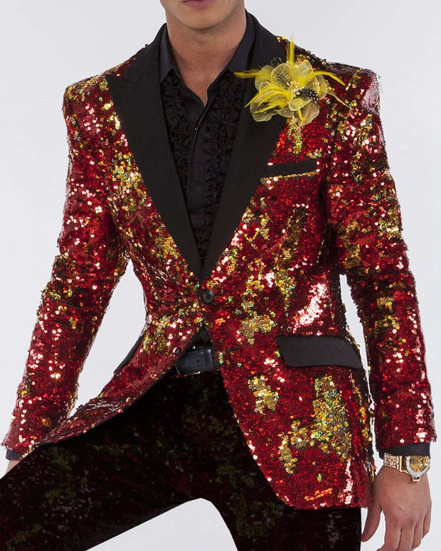 sequin jackets gold and red with black lapel, for prom, wedding,