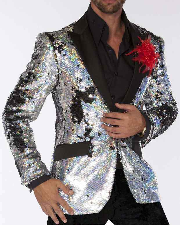 Sequin Blazers - Silver Sequin - Slim Fit - Prom Blazer - Dinner Jacket - ANGELINO