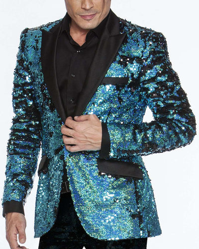 sequin blazers, teal color with black lapel good for prom 2020
