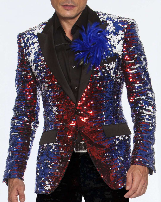 Sequin blazers for prom, with red, blue,white color.