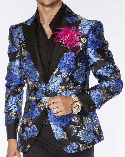 mens sport coat with big blue flowers and black lapel