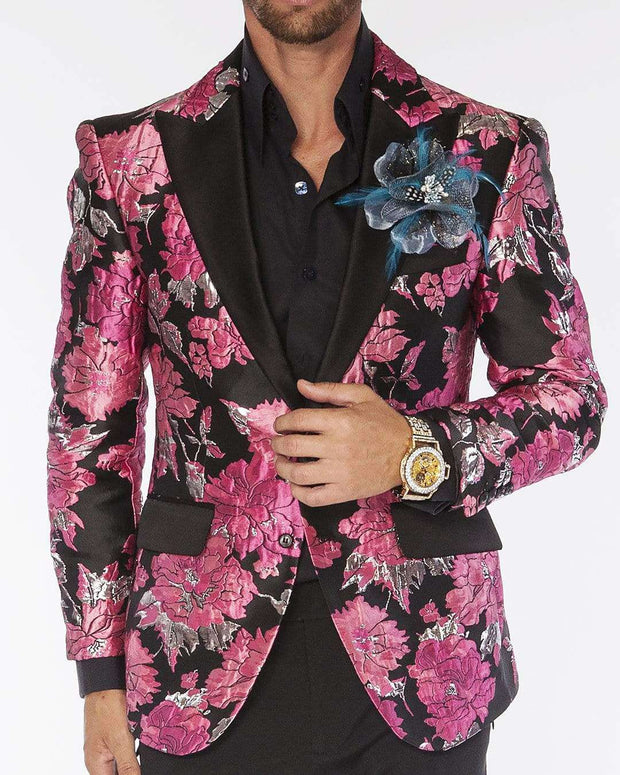 Blazer for men with big pink flowers, black lapel and pocket flaps.