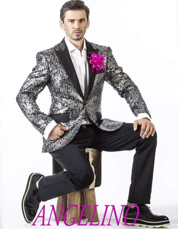 Men's Fashion Blazer and Sport Coat Stella Silver - Sequin - Blazer - ANGELINO