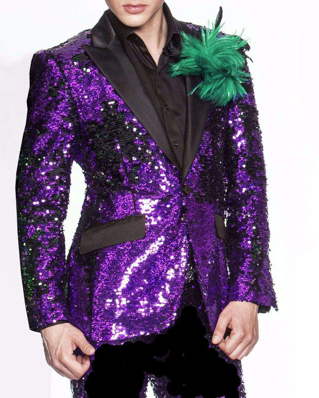 Sequin blazer for men, Purple with black lapel.